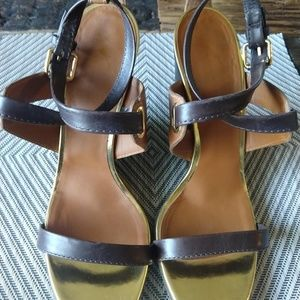 Giuseppe Zanotti Brown/Gold Leather Wedges